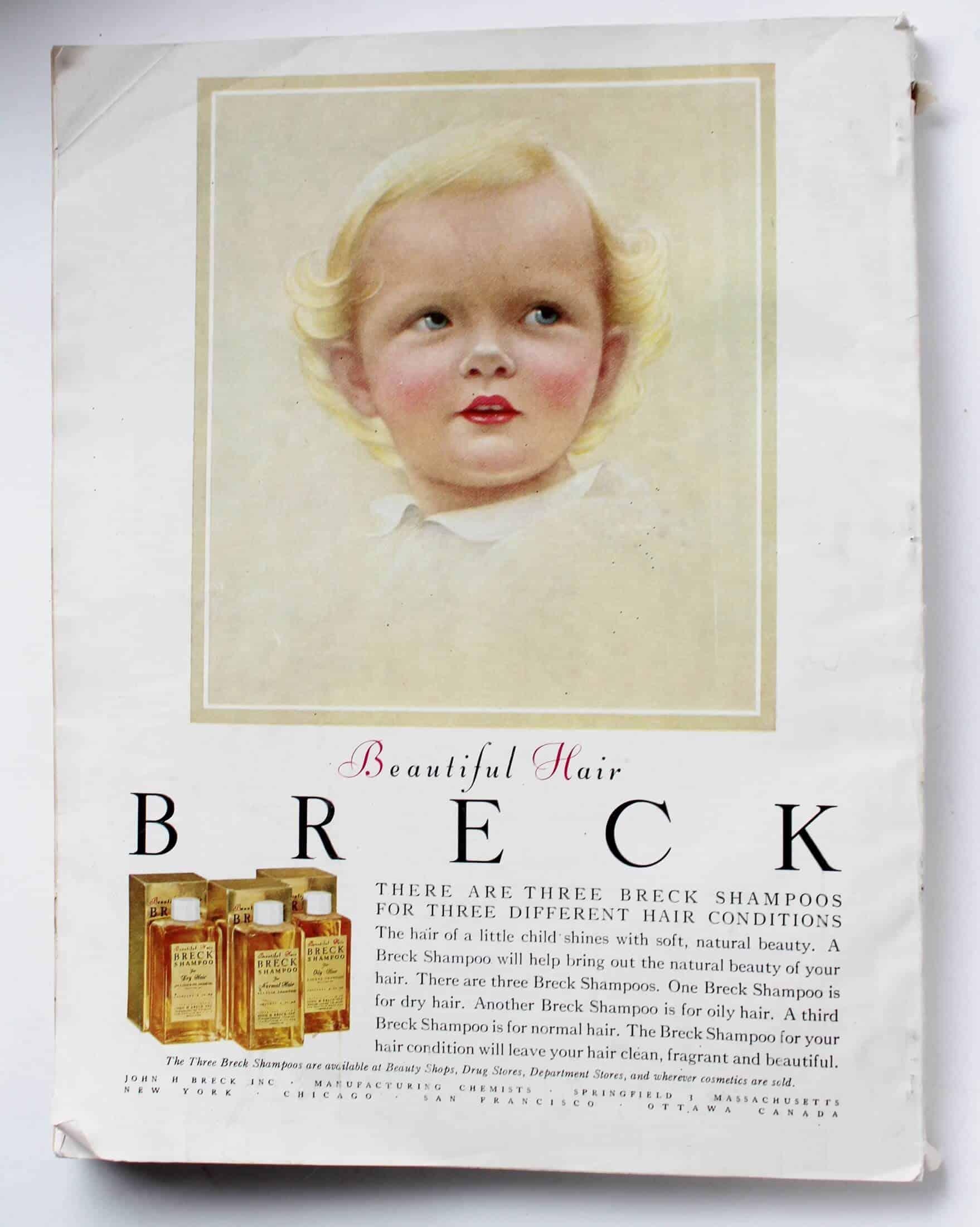 Vintage Breck ad on back of Good housekeeping magazine