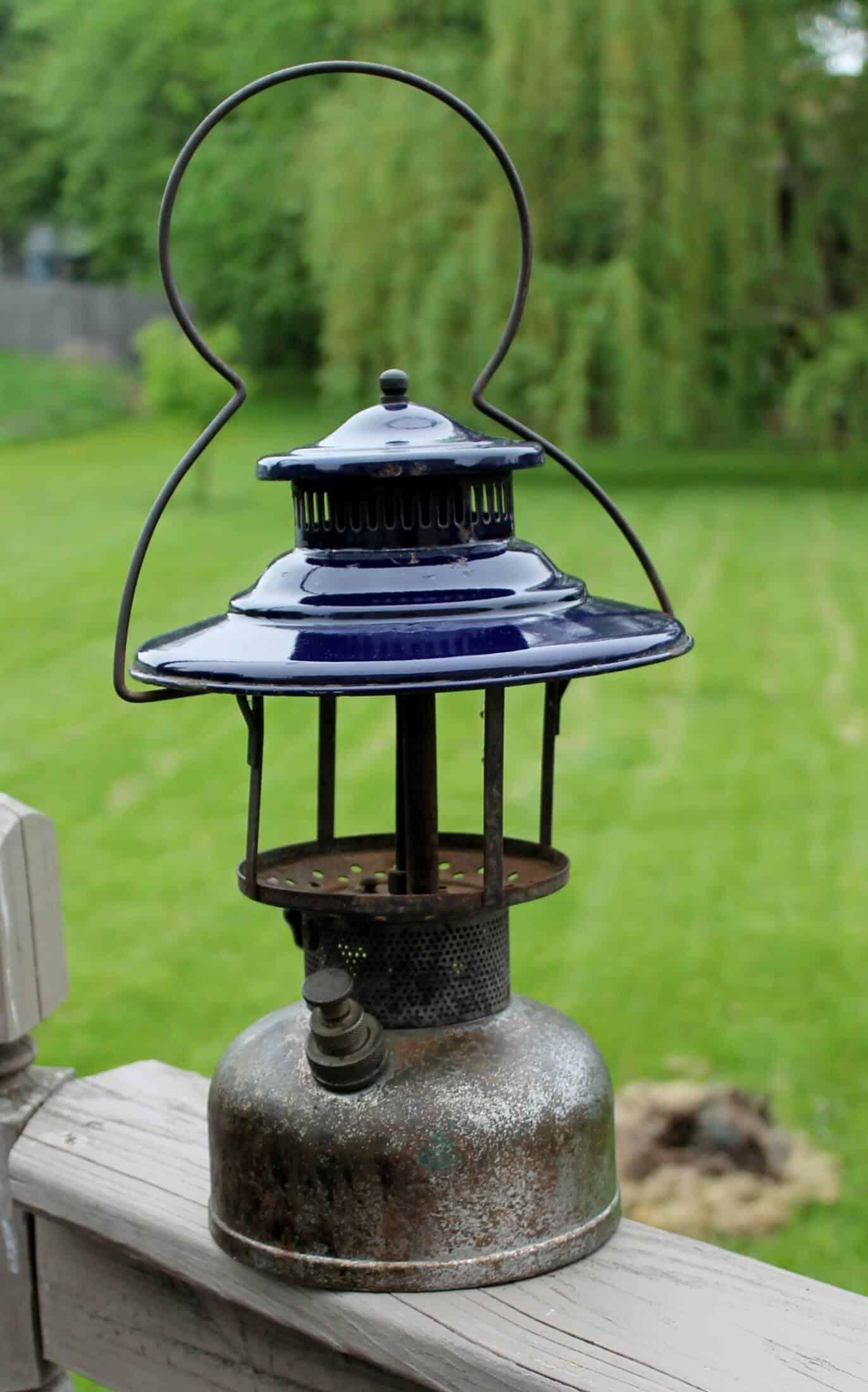 Blue enamel lanter