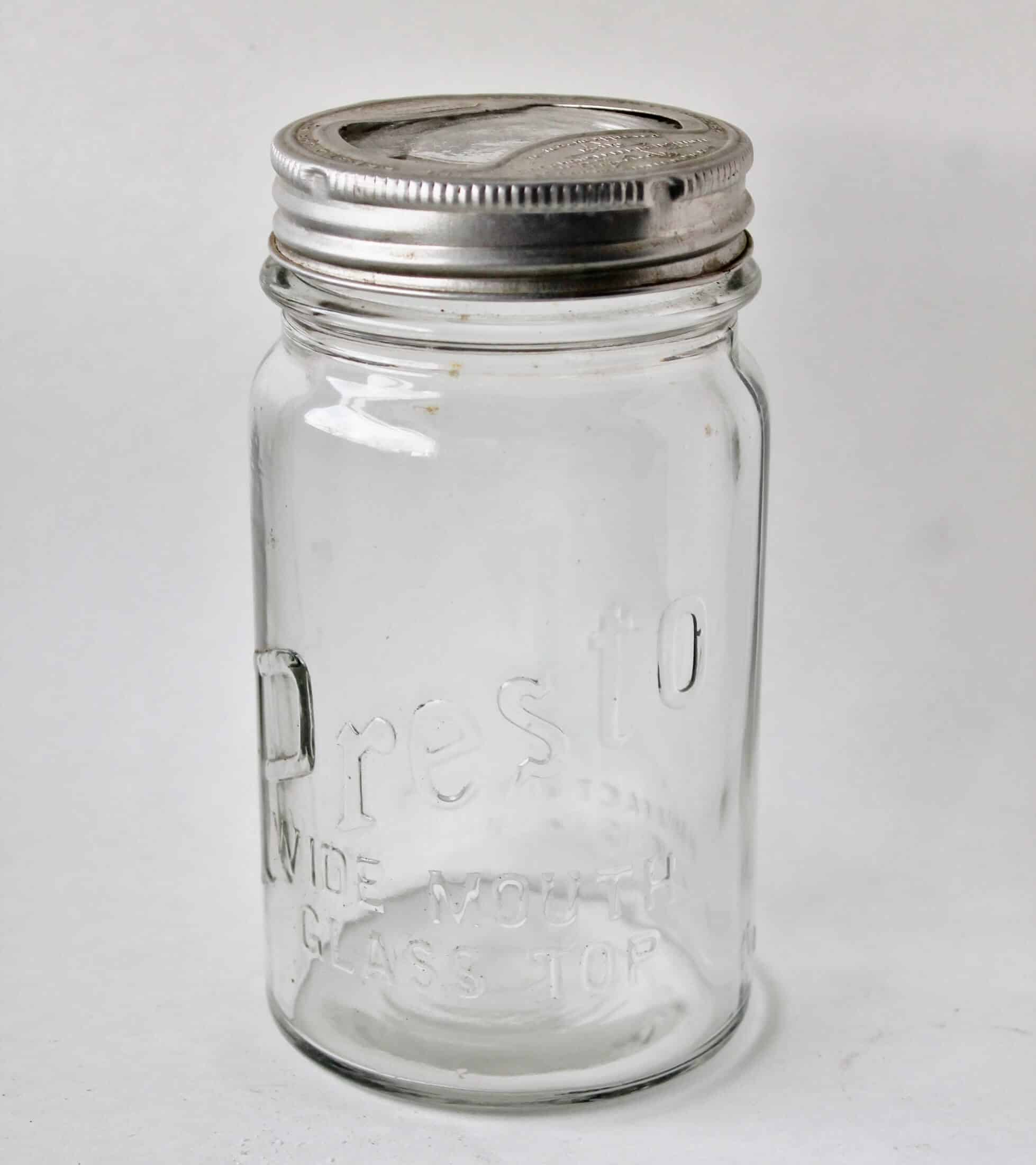 Clear glass Presto canning jar