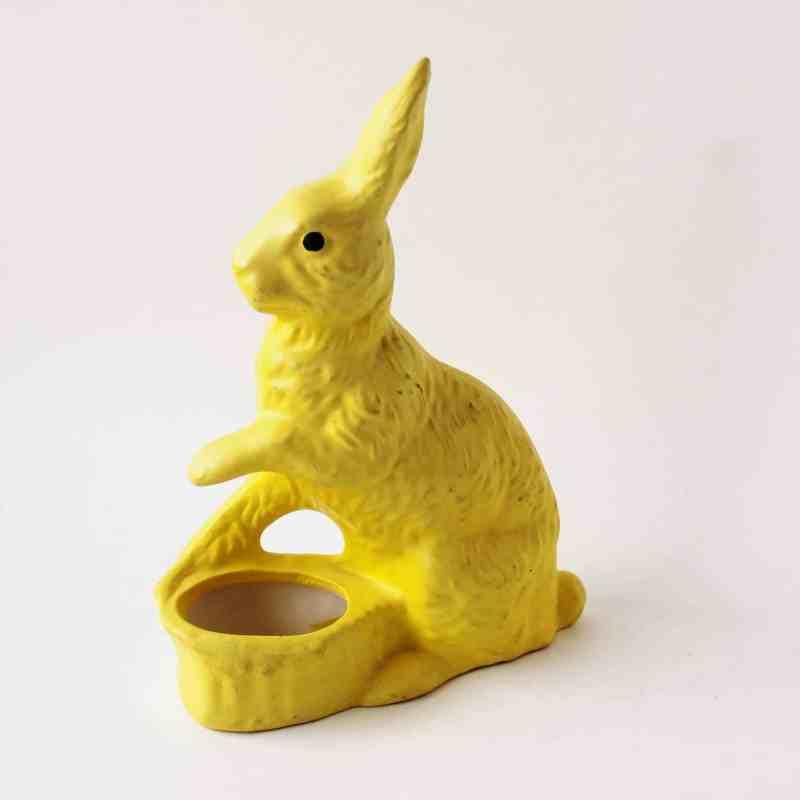 vintage yellow ceramic easter rabbit