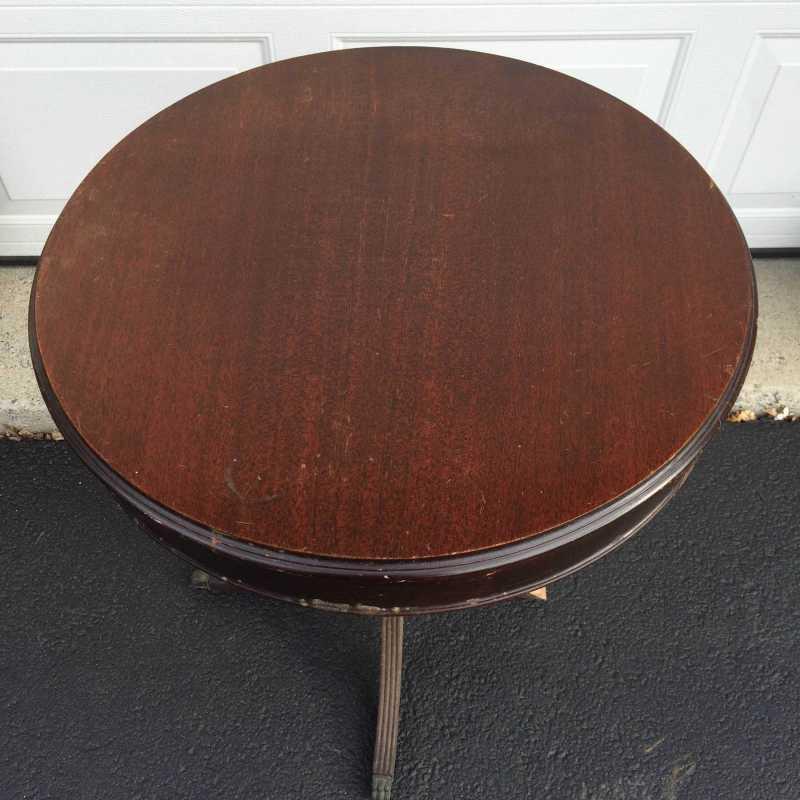 Top view of vintage drum table