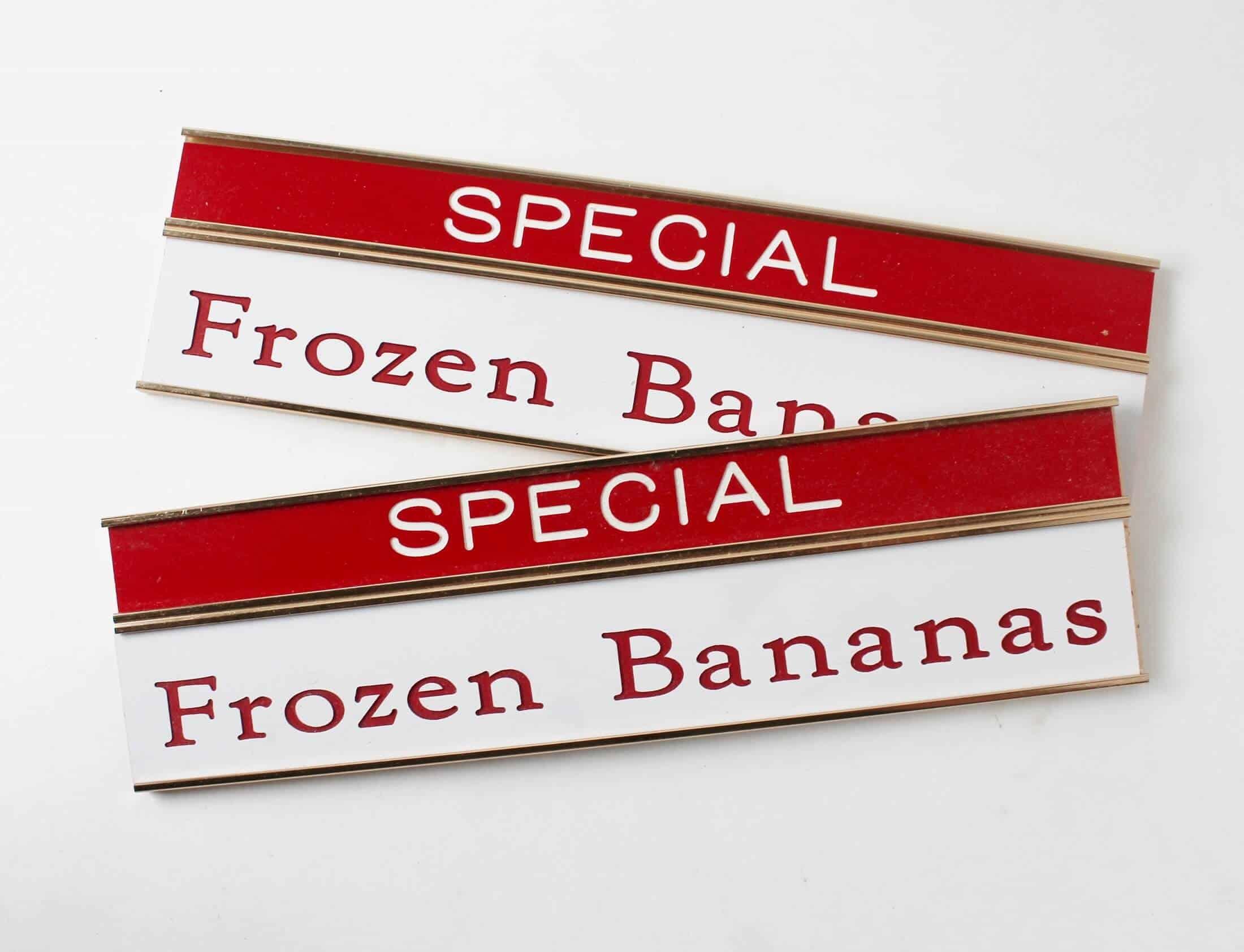 vintage special frozen bananas signs