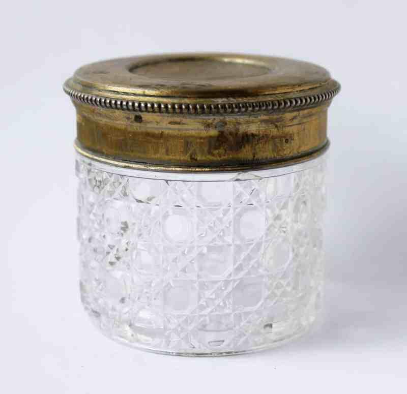 brass and pressed glass vanity jar