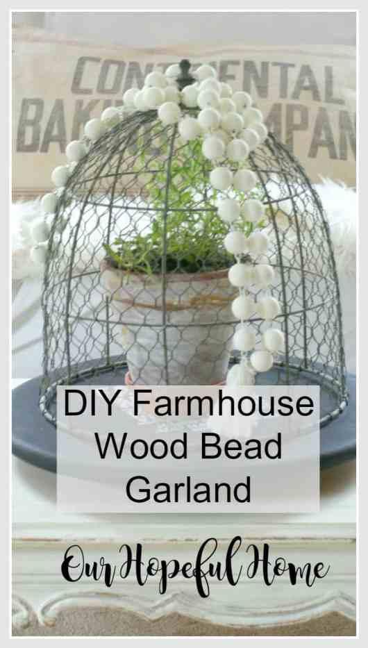 farmhouse wooden bead garland