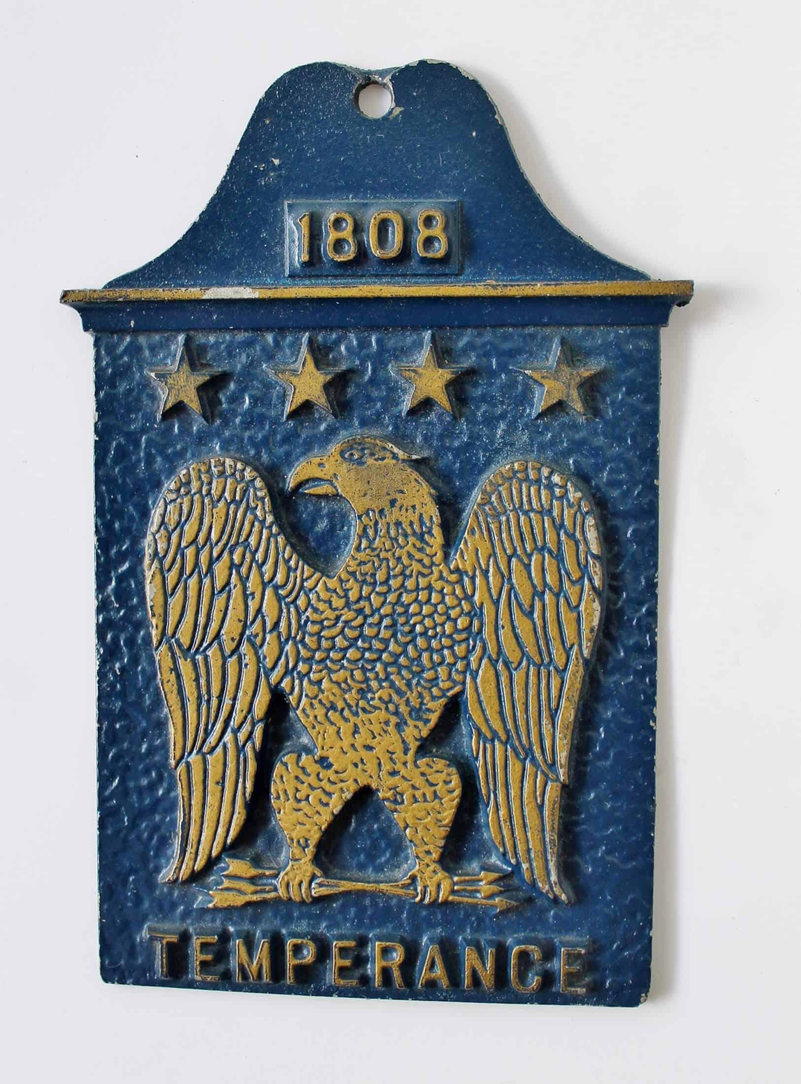 vintage metal temperance plaque