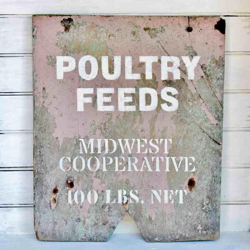 poultry feeds vintage sign