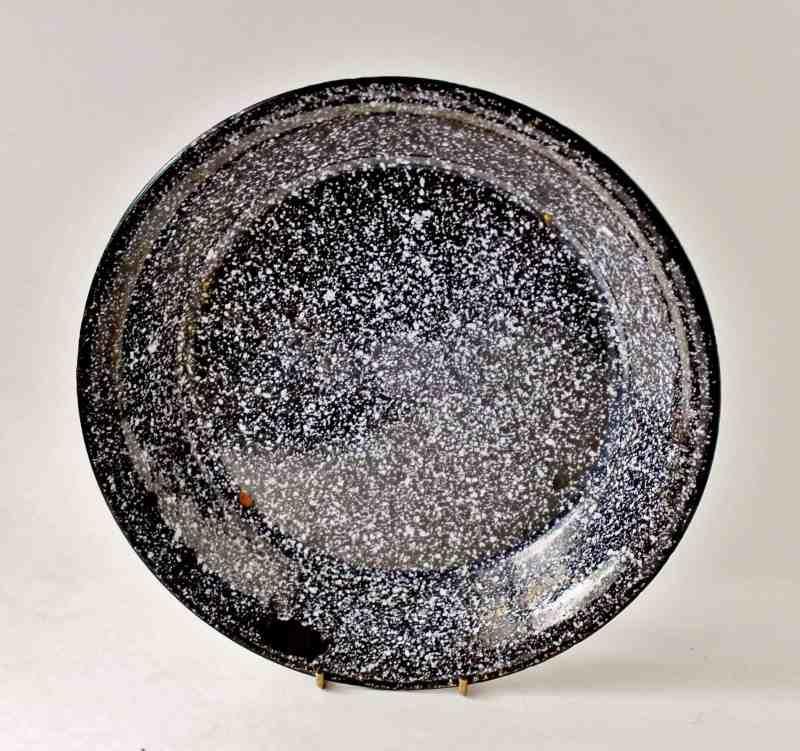 vintage black and white spattered enamelware pan