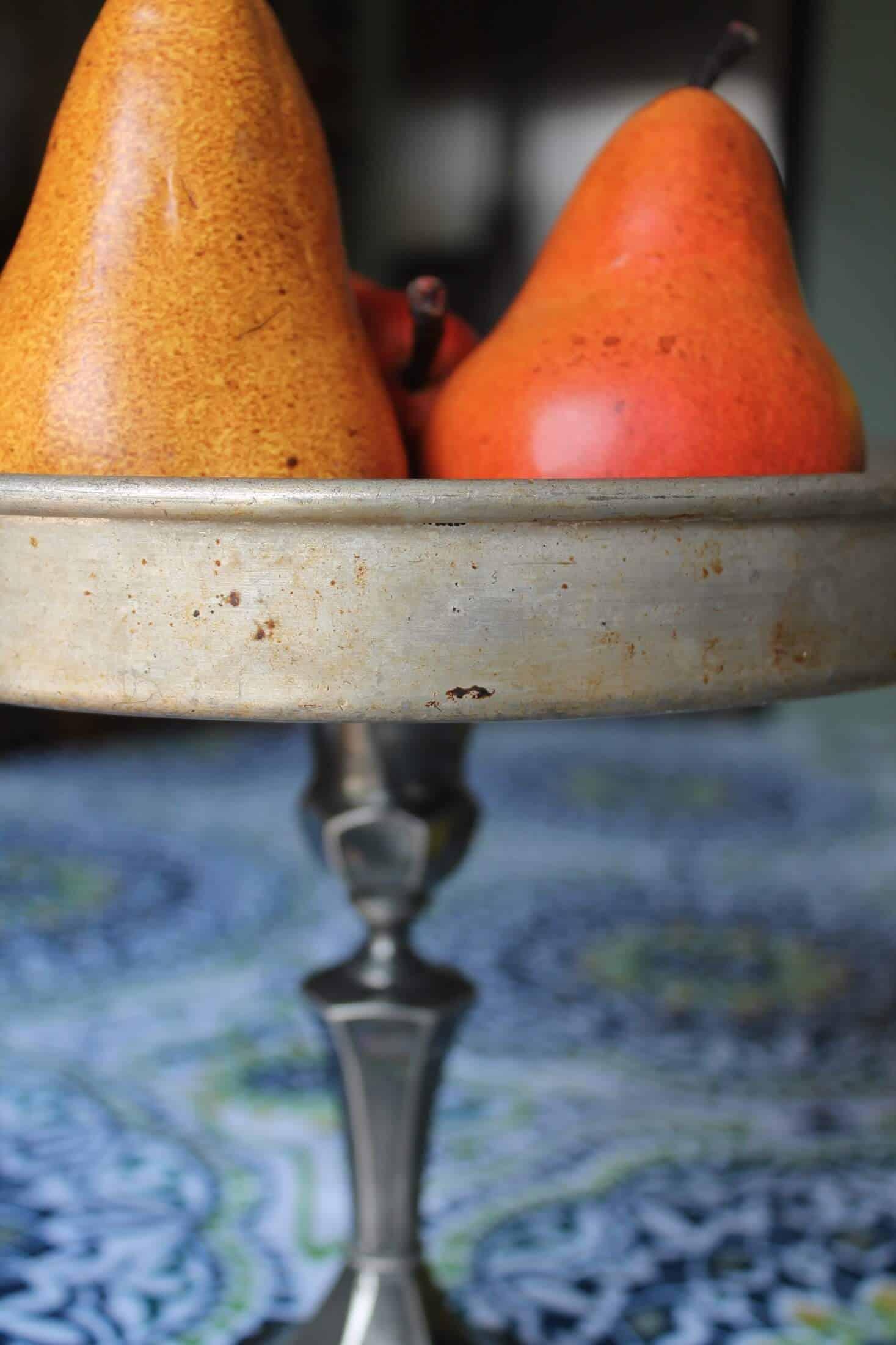 pears in diy pedestal stand