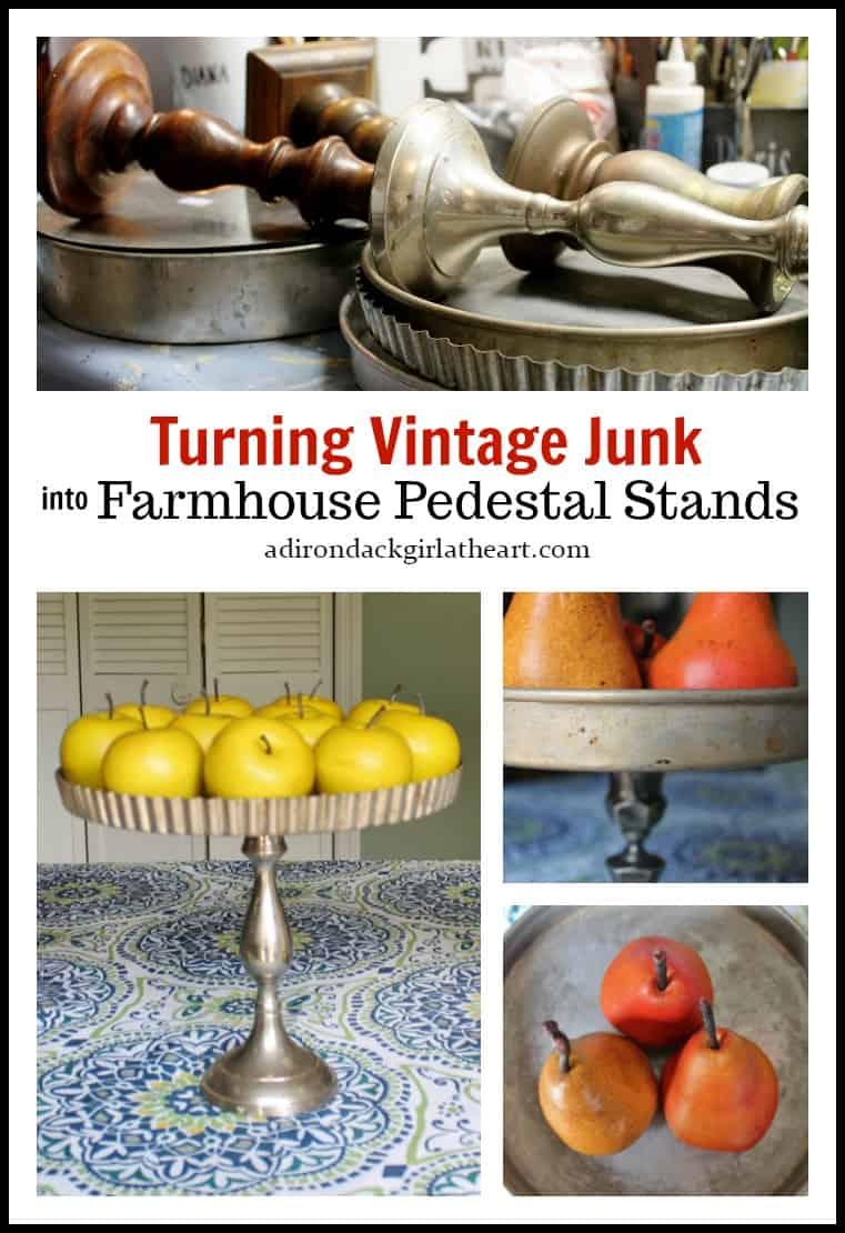 vintage farmhouse pedestal stands collage