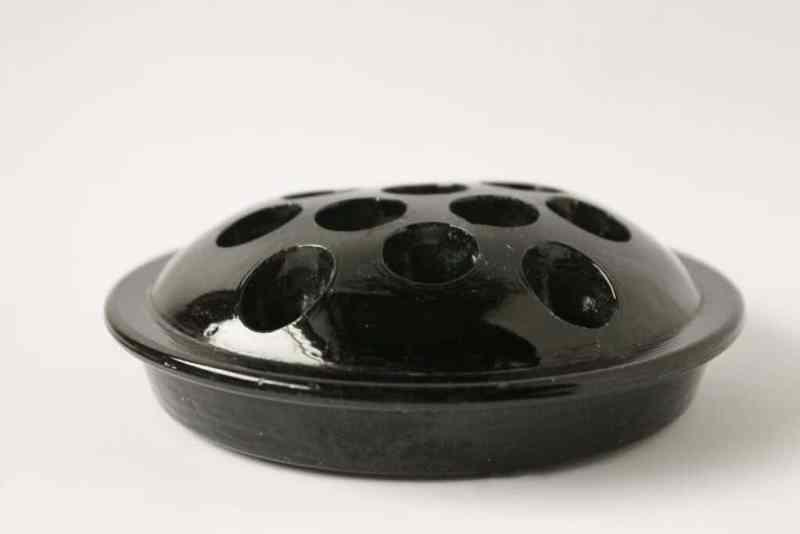 vintage black flower frog