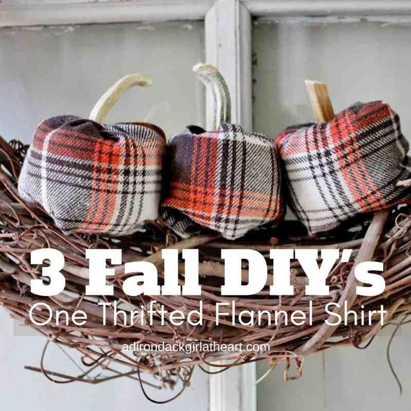 3 thrifted flannel shirt pumpkins