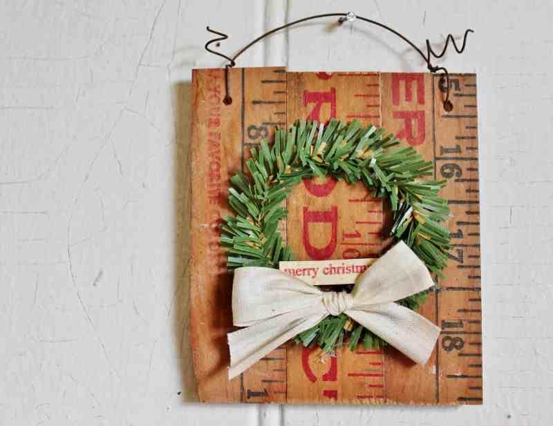 vintage yardstick and mini wreath christmas ornament