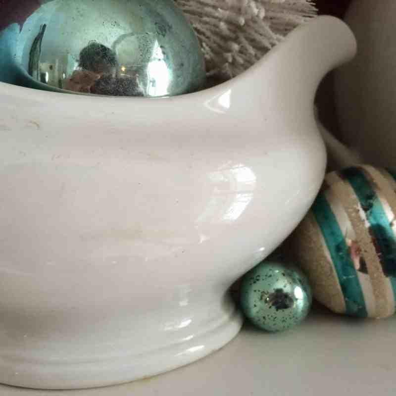 vintage aqua ornaments with ironstone china