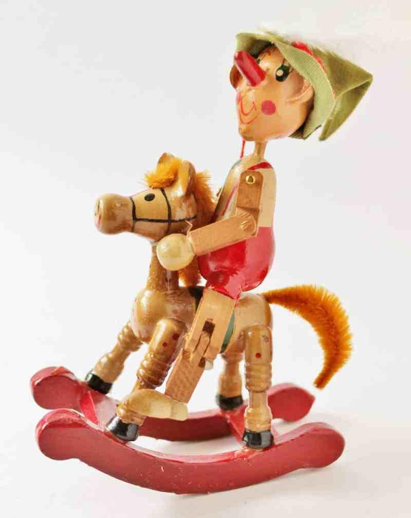 vintage wooden Pinocchio ornament