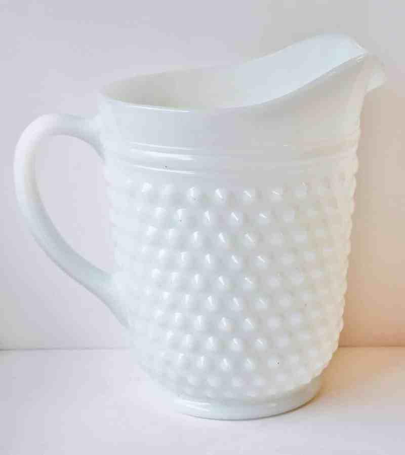 milk glas hobnail pitcher