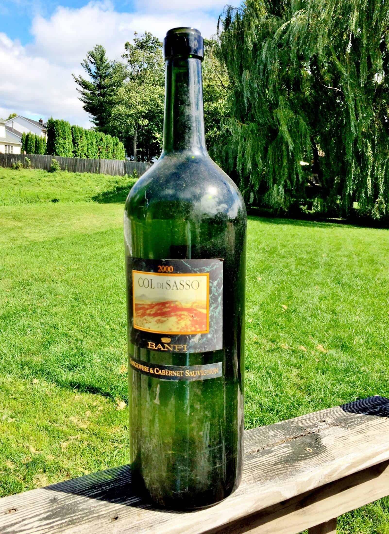 oversized wine bottle