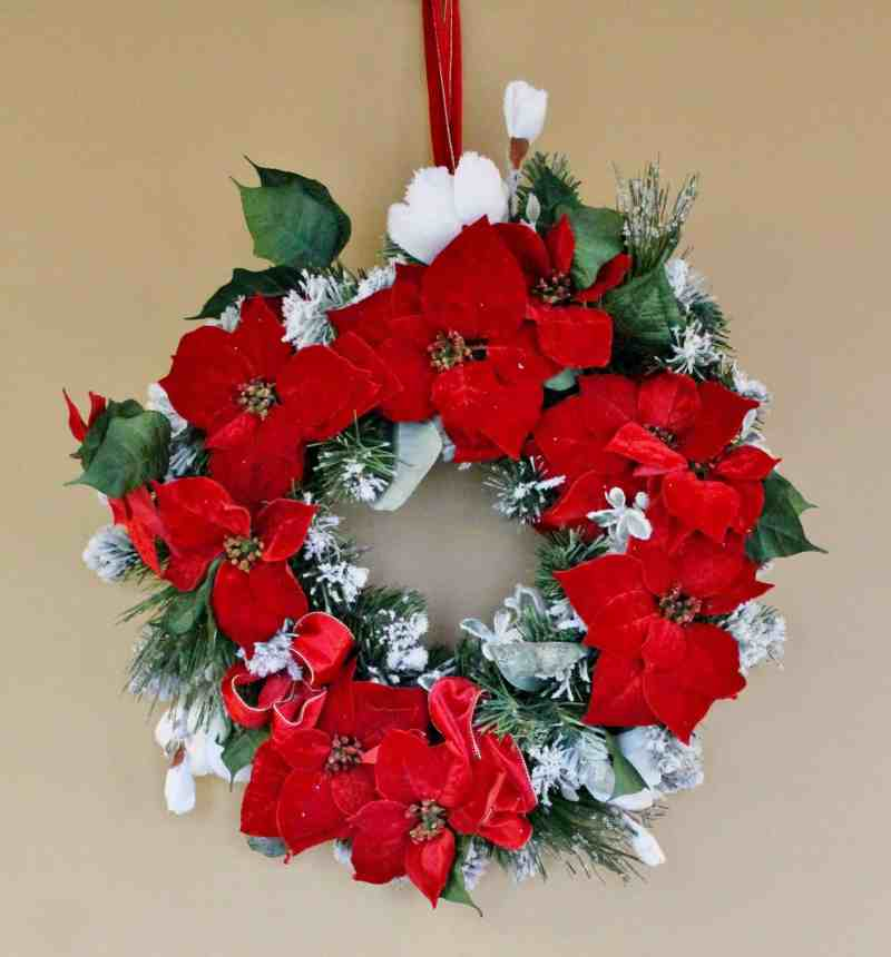 poinsettia wreath at the equinox