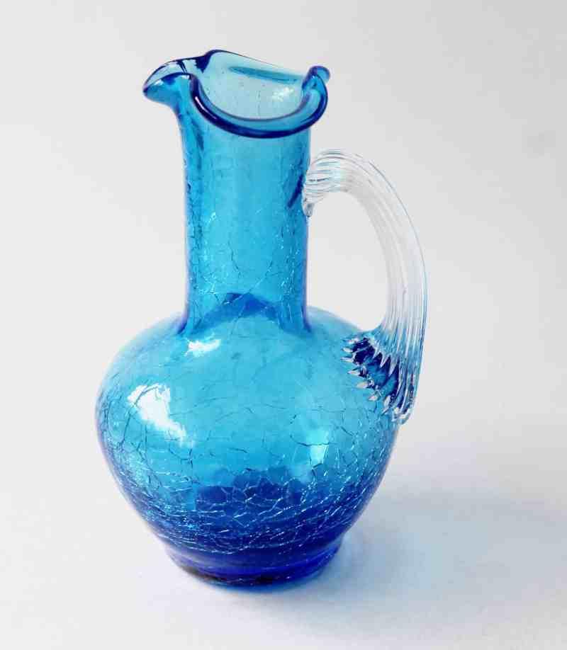vintage blue crackle glass