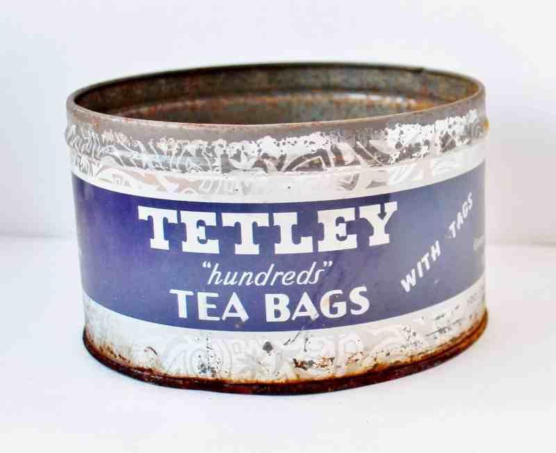 vintage tetley tea tin