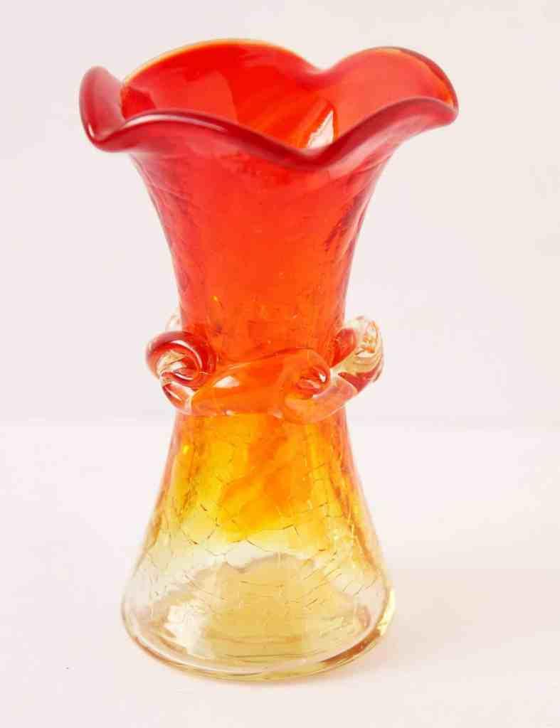 vintage amberina crackle glass vase