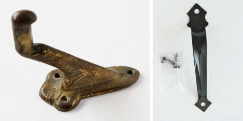 Vintage hook and door handle