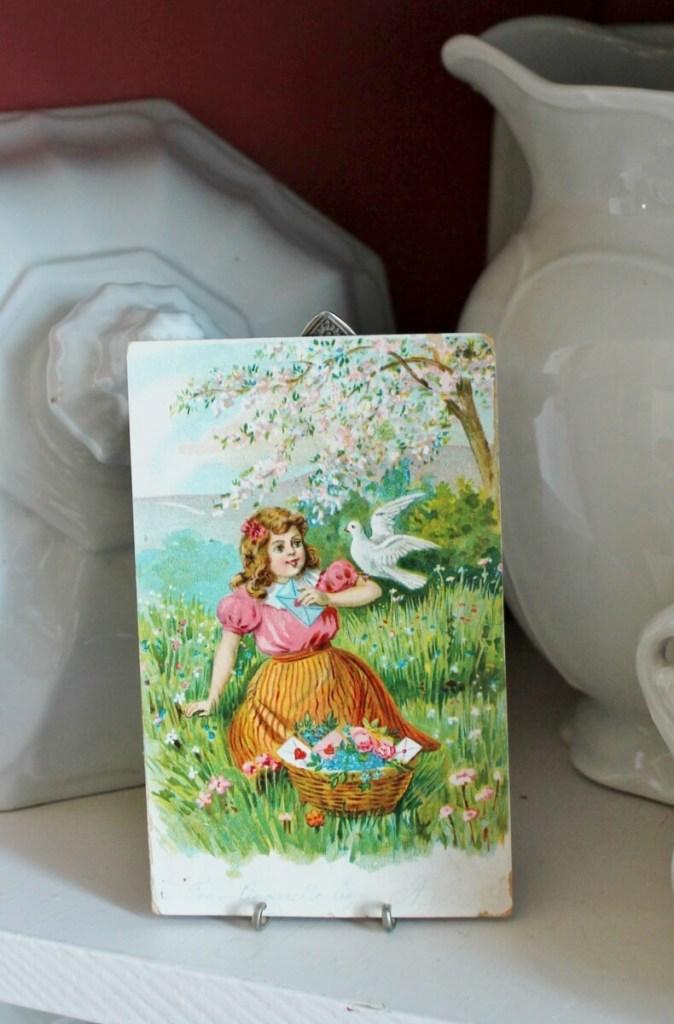 Vintage Fork Easel with antique postcard