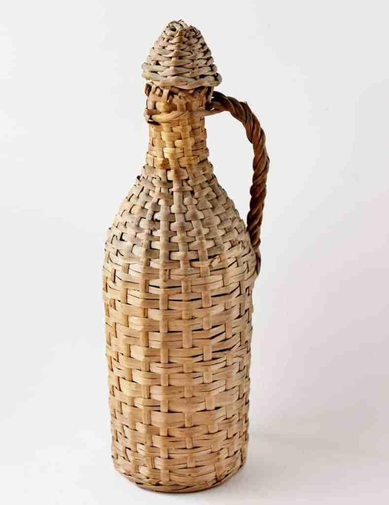 vintage wicker wrapped bottle