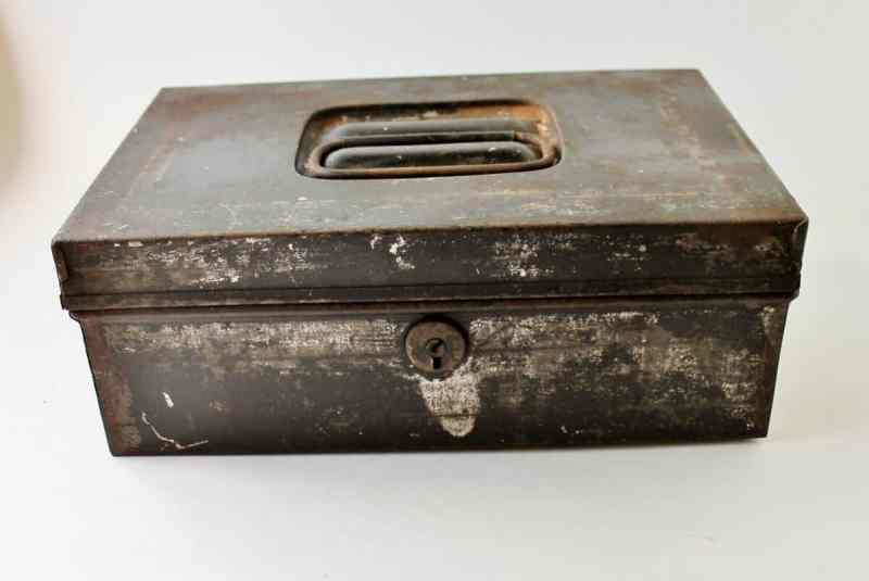 Antique tin money box