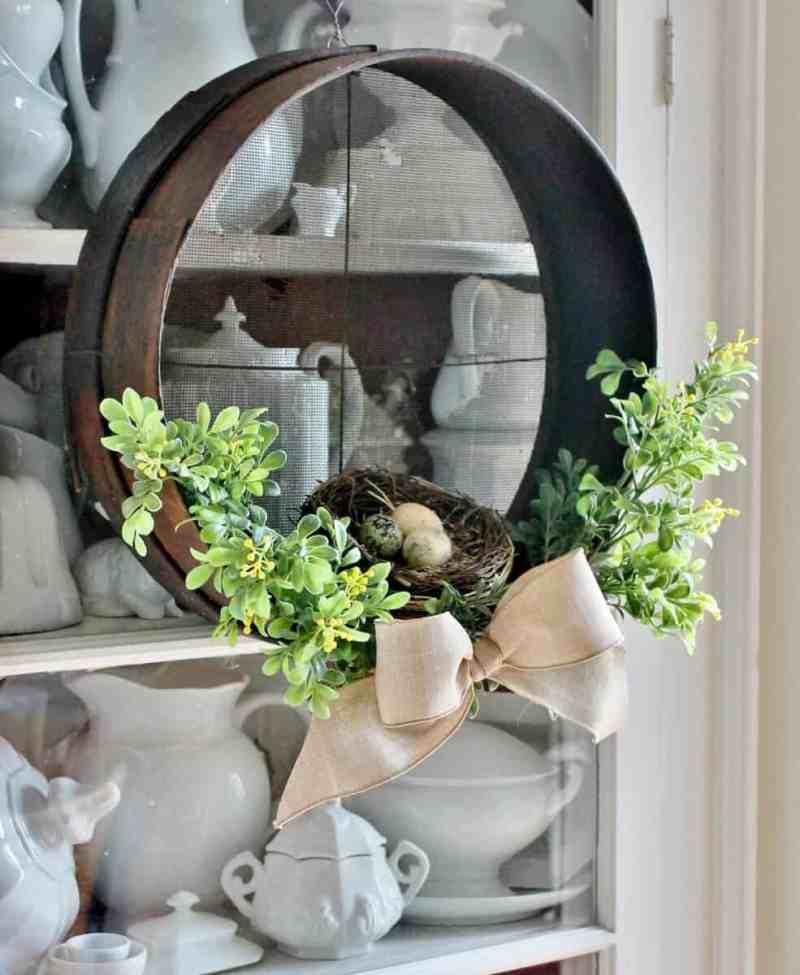 Antique Wood Sieve Wreath on Ironstone Cupboard Door