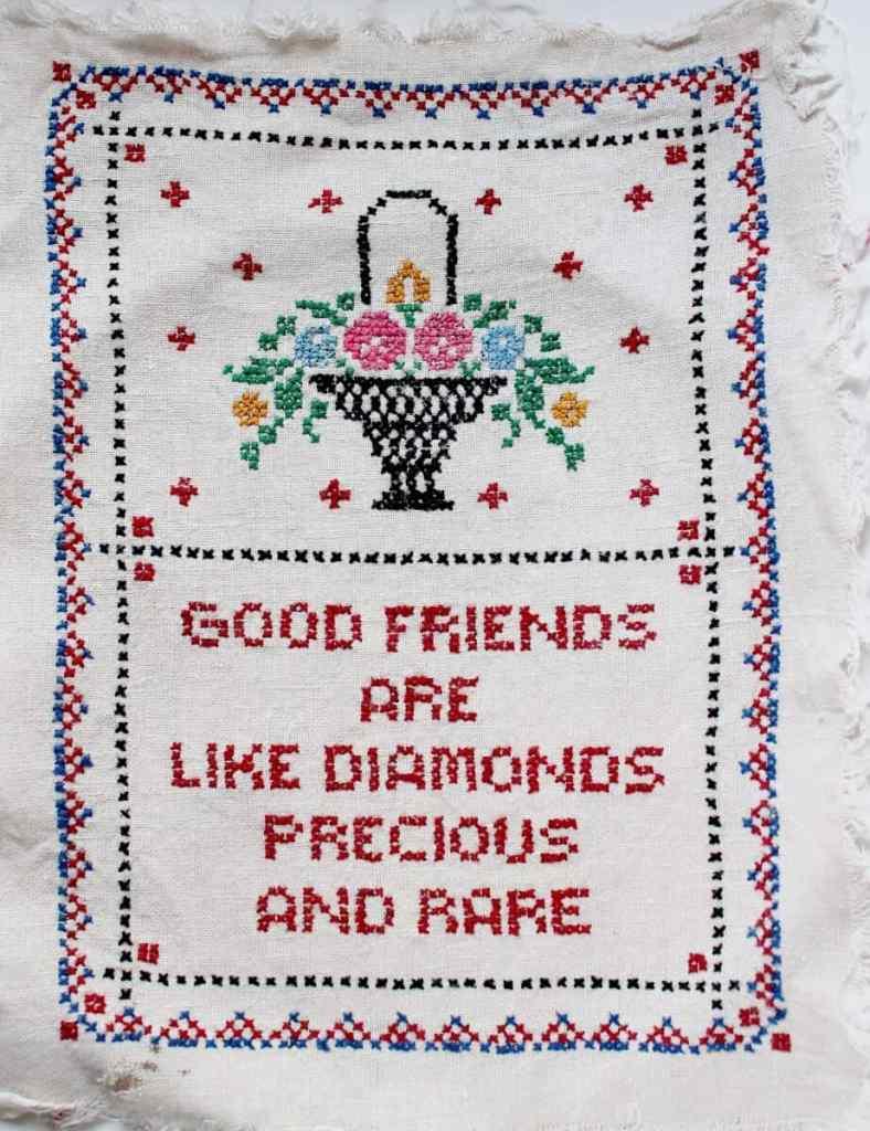 Vintage Cross Stitch Good Friends are Like Diamonds (923x1200)