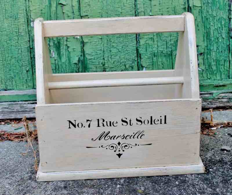 hand painted and stenciled magazine rack