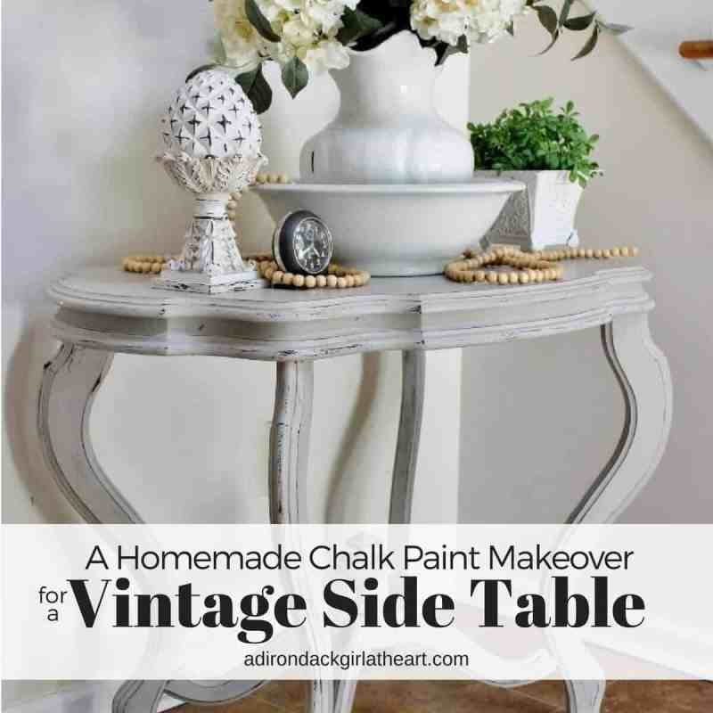 A homemade chalk paint makeover for a vintage side table adirondackgirlatheart.com