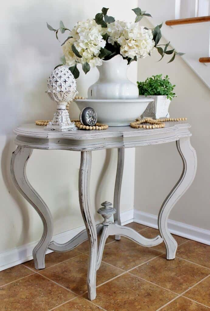Homemade Chalk Paint Makeover of Vintage Table (3)