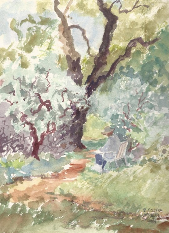 A watercolor by Betty 2001 near the entrance to the woods.