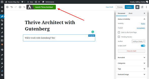 Gutenberg with Thrive