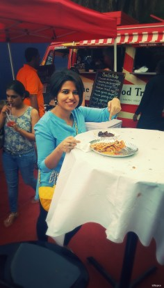 Snacking during Bangalore Food Truck festival