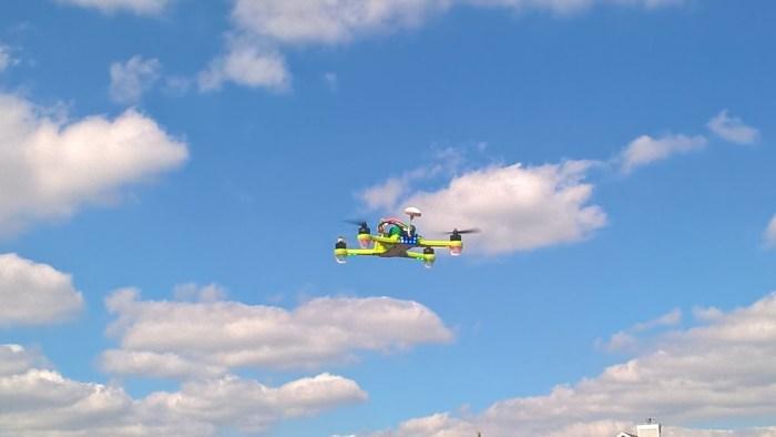 The drone in flight
