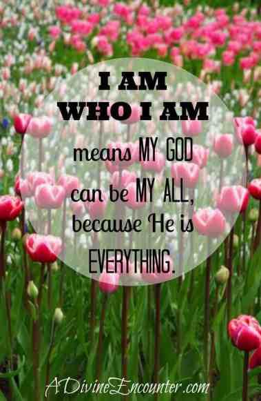 "Short and sweet post considering ""I AM."" (Exodus 3:14) https://adivineencounter.com/monday-minute-i-am"