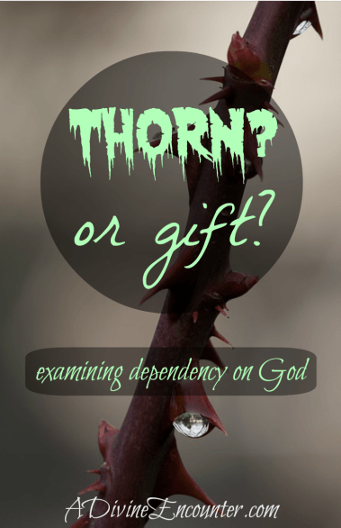 An honest post examining how our flaws keep us dependent on God. (2 Cor. 12) https://adivineencounter.com/thorn-or-gift