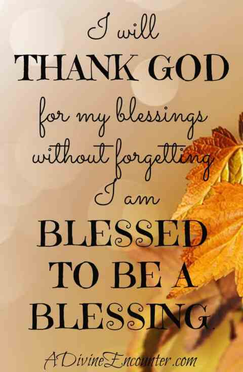 Poignant post challenges you to thank God for blessings, without forgetting you were blessed to be a blessing to others.  https://adivineencounter.com/blessed-to-be-a-blessing