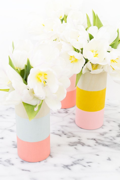 DIY Color Block Wood Vases