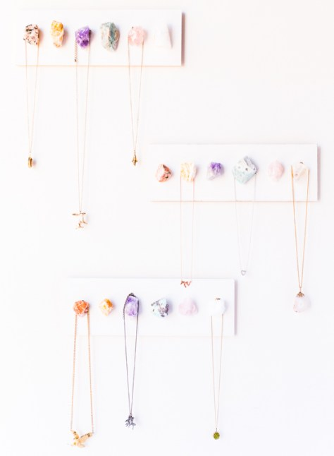 DIY Raw Crystal Necklace Display