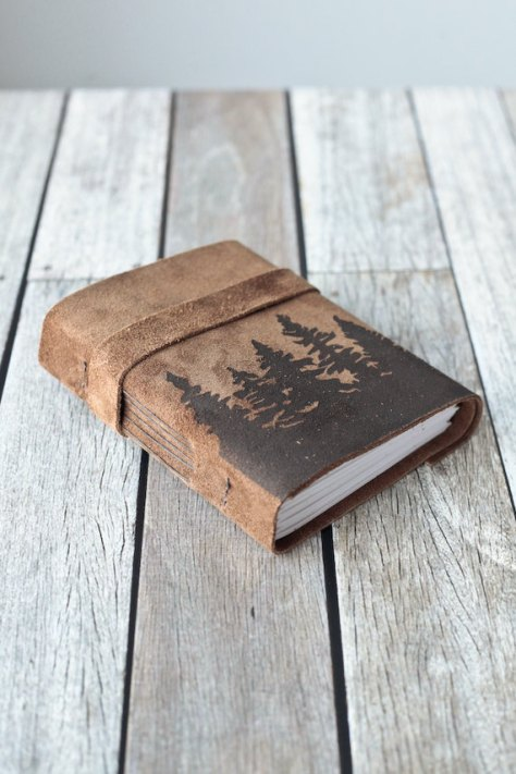 Leather Journal with Trees