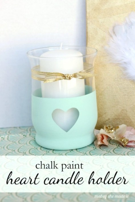 Heart Chalk Paint Candle Holder