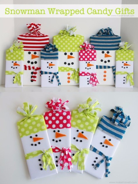 DIY Snowman Wrapped Candy Gifts
