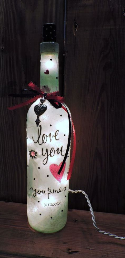 DIY Valentine Wine Bottle Lamp