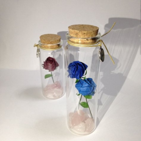 DIY Origami Paper Rose in Glass Bottle