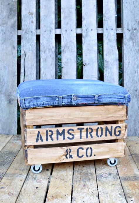 DIY Ottoman Using Jeans and a Wooden Crate