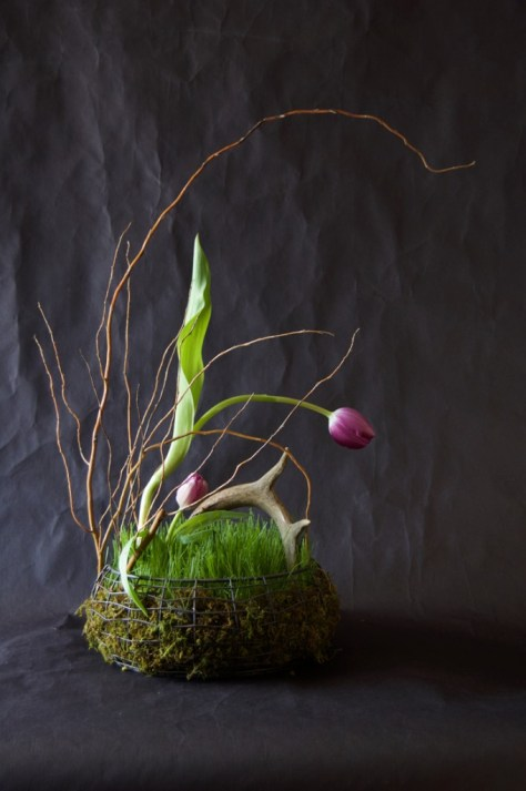 Easter Basket Filled With Real Grass