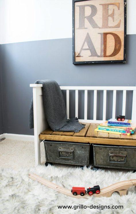 DIY Crib Turned Kids Bench